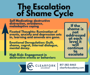 The shame cycle states that if shame is not addressed it will continue to worsen.